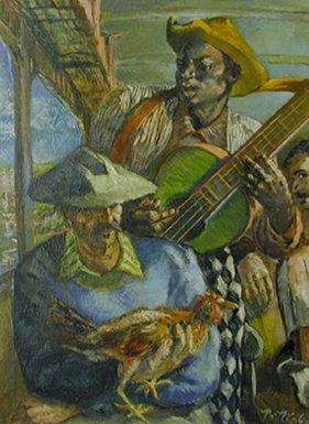 """""""On a Cuban Bus"""" Oil on canvas (1946)"""